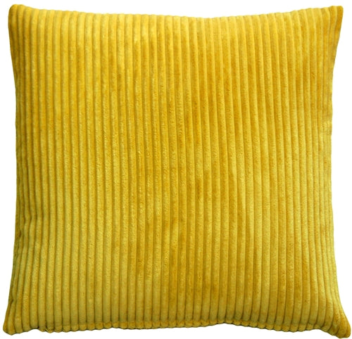 Wide Wale Corduroy 22x22 Yellow Throw Pillow