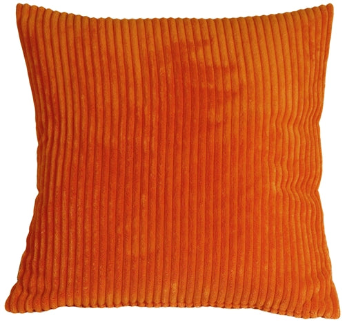 Wide Wale Corduroy 22x22 Dark Orange Throw Pillow