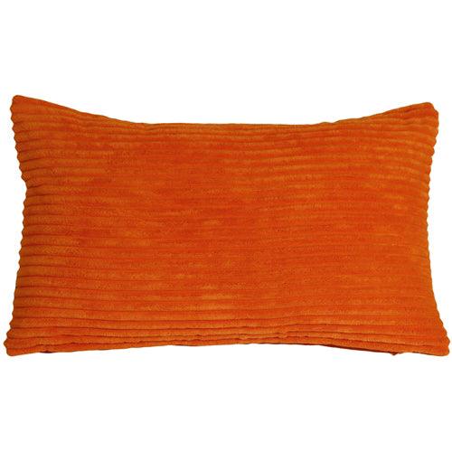 Wide Wale Corduroy 12x20 Dark Orange Throw Pillow
