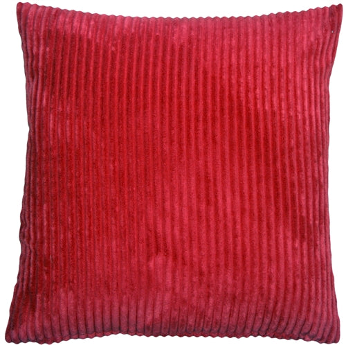 Wide Wale Corduroy 22x22 Red Throw Pillow