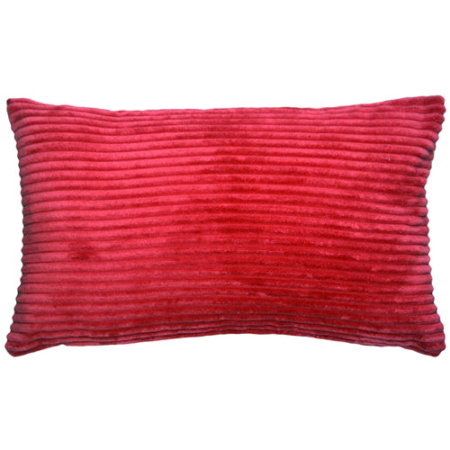 Wide Wale Corduroy 12x20 Red Throw Pillow