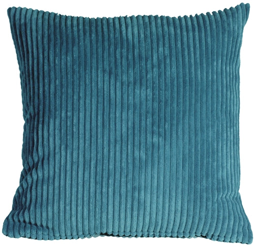 Wide Wale Corduroy 22x22 Marine Blue Throw Pillow