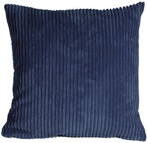 Wide Wale Corduroy 22x22 Dark Blue Throw Pillow