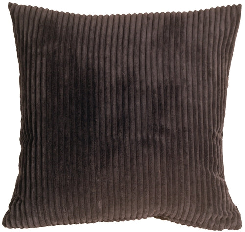 Wide Wale Corduroy 22x22 Dark Brown Throw Pillow