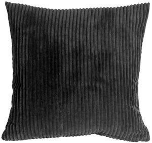 Wide Wale Corduroy 22x22 Black Throw Pillow
