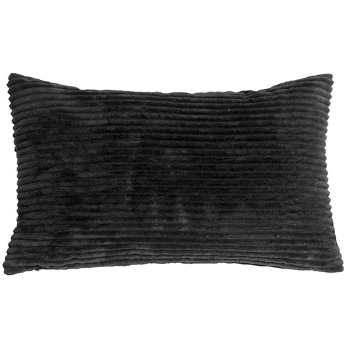 Wide Wale Corduroy 12x20 Black Throw Pillow
