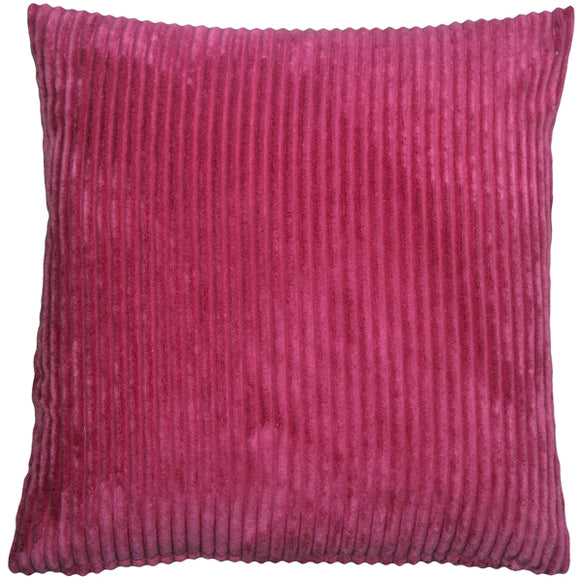 Wide Wale Corduroy 22x22 Magenta Pink Throw Pillow