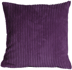 Wide Wale Corduroy 22x22 Purple Throw Pillow