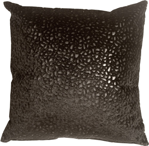 Pebbles in Black 18x18 Faux Fur Throw Pillow