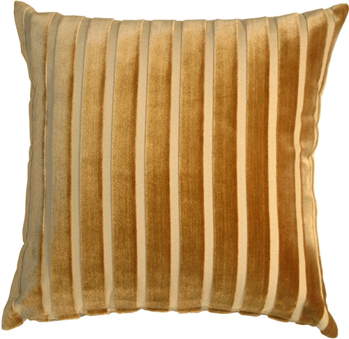 Monroe Velvet Stripes 22x22 Gold Throw Pillow