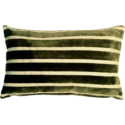 Monroe Velvet Stripes 12x20 Green Throw Pillow