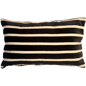 Monroe Velvet Stripes 12x20 Black Throw Pillow