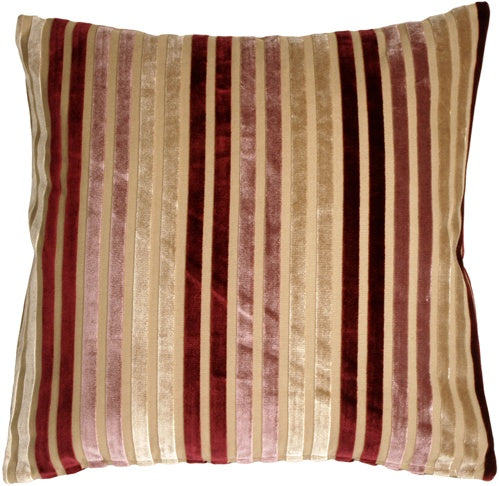 Velvet Multi Stripes Mauve 20x20 Throw Pillow