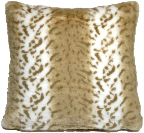 Tawny Lynx Faux Fur 20x20 Throw Pillow