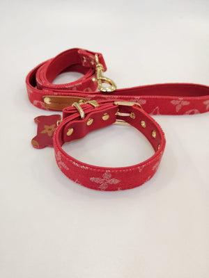 Louie V Red Leather Collar & Leash Set 2019 (HOT)