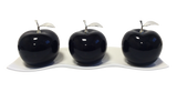 Three Black Ceramic Apples # 2 on White  Medium Andra Tray