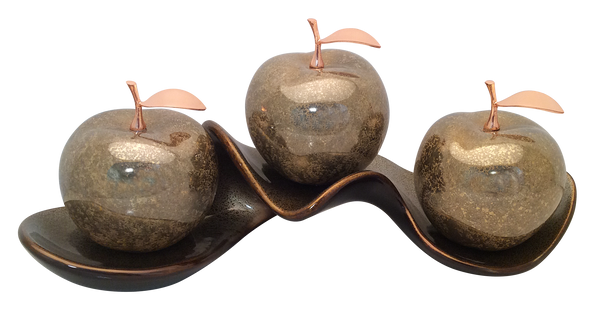 Three Champagne  Ceramic Apples # 2 on Caracol Champagne  Tray
