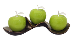 Three Green   Ceramic Apples # 2 on Caracol Champagne  Tray