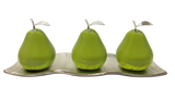 Three Green Ceramic Pears   # 2 on White Medium Andra Tray