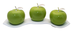 Three  Green Ceramic Apples  # 3 on White Luanda  Tray