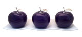 Three Violet  Ceramic Apples # 2 on White  Medium Andra Tray