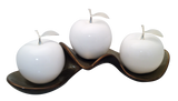 Three White  Ceramic Apples # 2 on Caracol Champagne  Tray