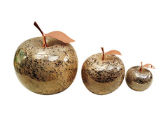 Ceramic Fruit - Champagne  Apples With Rose-Gold  Stem