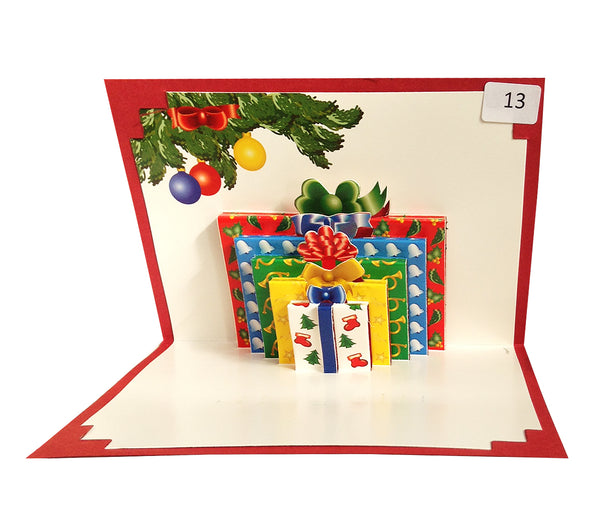 Christmas - Gift Boxes - Origami Greeting Card