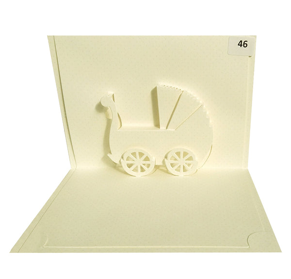 Baby Carriage  - Origami Greeting Cards