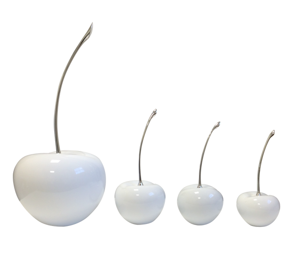 White Ceramic Cherries  with Silver Stem
