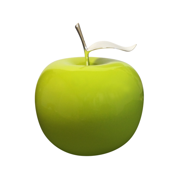 Ceramic Fruit - Green Apples With Silver Stem