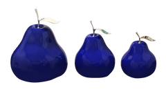 Ceramic Fruit - Blue   Pears with Silver Stem