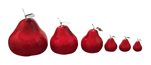 Ceramic Fruit - Red  Pears with Silver Stem