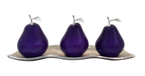 Three Violet Ceramic Pears # 2 on White  Medium  Andra Tray