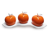 Three Tangerine   Ceramic Apples # 3 on Luanda  Tray