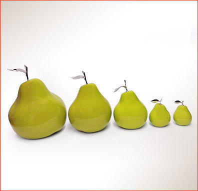 Ceramic Fruit - Green Pears With Silver Stem