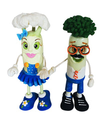 GURIS Funky and Fun Characters   RA128 - Mr. Broccoli & 108 Mrs. Cauliflower, Blue