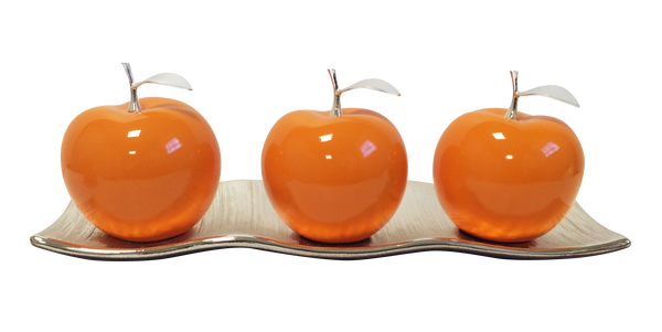 Three Tangerine Ceramic Apples # 2 on White  Medium Andra Tray