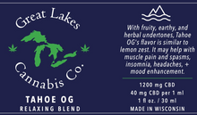 Load image into Gallery viewer, Relaxing CBD Oil - Tahoe OG