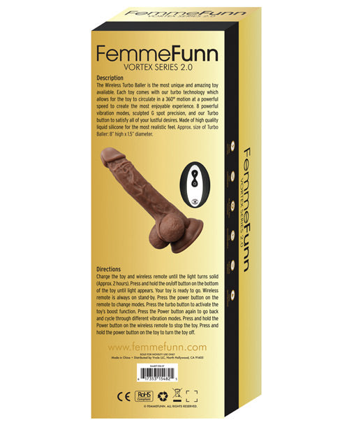 Femme Funn Turbo Baller 2.0 with8 powerful vibration modes and sculpted G spot precisionFemme Funn Turbo Baller 2.0  Brown