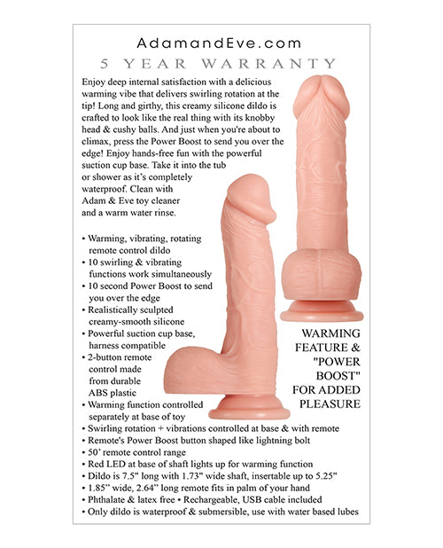 Adam & Eve Adam's Warming Rotating Power Boost Dildo - Light