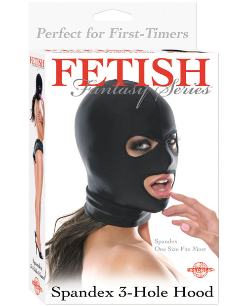 Fetish Fantasy Series Spandex 3 Hole Hood - Black