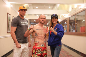 Boom! With my coach Mike Lemaire and sponsor Cookie from Mongkol Muay Thai corp, ready to make a statement tomorrow.