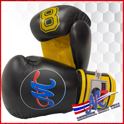 boxing gloves 8 leather boxing velcro quality boxing best sale muay thai  yellow black 10oz 16oz  muay thai made in thailand