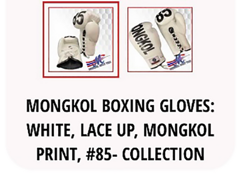 product review - mongkol boxing gloves: white, lace up, mongkol print, #85 collection