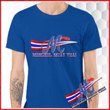 tee shirst blue mongkol logo m thai flage s m l xl royal blue