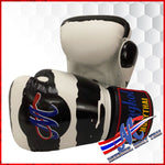 Mongkol Muay Thai Boxing Gloves -  Stripe White with Black ZEBRA Velcro