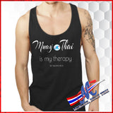 t-sh muay thai is my therapy black tank top for men , unisex S, M, L, XL