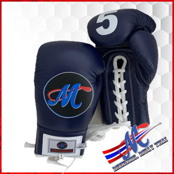 Mongkol Muay Thai Boxing Gloves- Navy Blue Lace Up #5