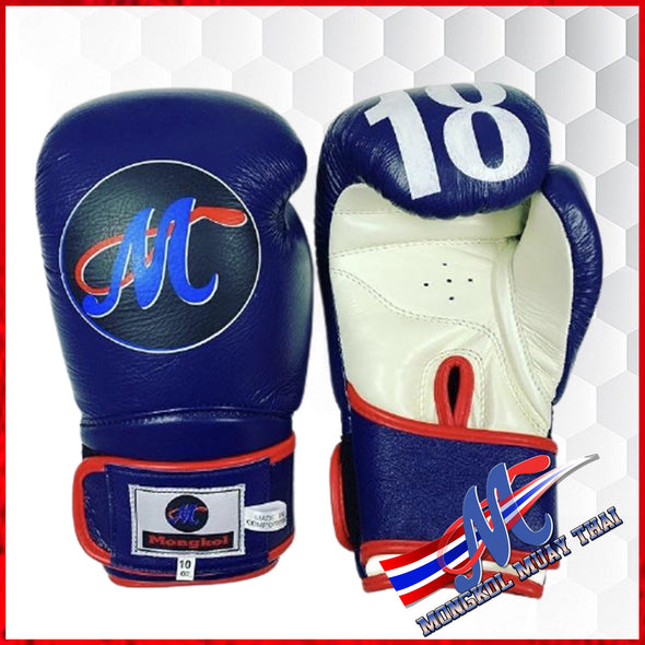 Mongkol Muay Thai Boxing Gloves  Velcro Dark Navy Blue /White Palm  Red Lining